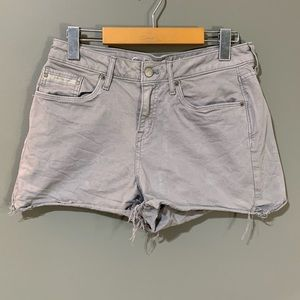 5/15$ Calvin Klein Distressed Grey Jean Shorts